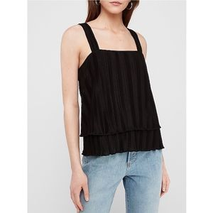 Express Black Pleated Layered Square Neck Tank Top